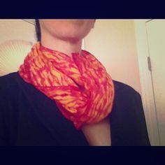 """NWOT Hand-dyed silk scarf Vibrant yellow-orange and magenta silk scarf. Purchased from World Market. Love this but doesn't work with my wardrobe. A professional way to brighten up an all-black work outfit, or wear as a fun head scarf. No defects. Measures 13""""x61"""". Accessories Scarves & Wraps"""