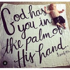How precious is life?  Adore this photo shared on our Isaiah 49:16 swaddle! #modernburlap