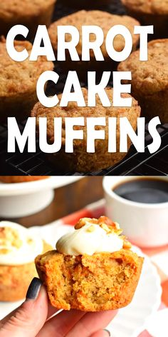You're going to love eating these Carrot Cake Muffins for breakfast. Especially since they are topped with a cream cheese frosting and walnuts! Brunch Recipes, Cake Recipes, Dessert Recipes, Carrot Recipes, Cheese Recipes, Casserole Recipes, Mini Cakes, Cupcake Cakes, Cupcakes