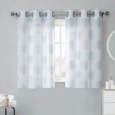 Coral Reef 38-Inch Window Curtain Tier Pair in Grey Mist