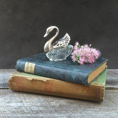 Swan Salt Cellar - Movable Wings - Ring Holder - Silver and Glass - Trinket Box - Vintage Italy by TheCherryAttic on Etsy