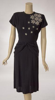 Black Silk Crepe Dress with Rhinestone and Studded Bodice Decor   Woodland Farms Vintage