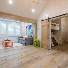 TV Room with Rustic Wood Beams