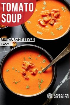 This easy Tomato Soup recipe makes a creamy, rich tomato soup that's perfect for enjoying as a hearty lunch or light dinner. Zesty fresh tomatoes and real cream create a truly comforting, velvety smooth tomato soup from scratch – in less than 30 minutes. Easy Tomato Soup Recipe, Fresh Tomato Soup, Cream Of Tomato Soup, Vegetarian Vegetable Soup, Tasty Vegetarian Recipes, Vegetable Soup Recipes, Veg Recipes Of India, Indian Food Recipes, Paneer Recipes