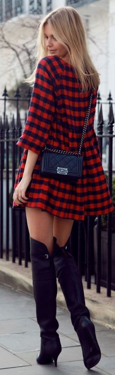 Street style | Plaid dress and over the knee boots