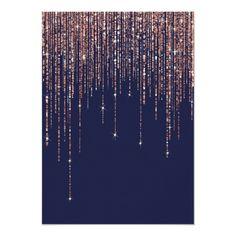 Shop Navy Blue Rose Gold Glitter Fringe Bachelorette Invitation created by _LaFemme_. Bachelorette Party Invitations, Sweet 16 Invitations, Bridal Shower Invitations, Custom Invitations, Gold Invitations, Invitation Design, Invite, Rose Gold Pink, Rose Gold Glitter