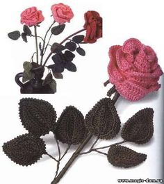 Beautiful crochet rose ... with the scheme ...@Afshan Shahid