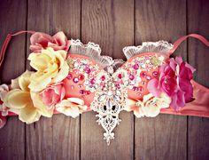 Peach Princess Rave Bra by TheLoveShackk on Etsy