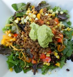 **SO GOOD and fast.      Taco Salad with Creamy Avocado Dressing | Dressing is Whole30, omit cheese, corn, beans, etc
