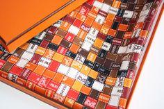 Hermes Bolduc au Carre, 90cm Silk Scarf by Cathy Latham in Orange. Pic2