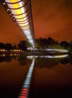 "The bridge ""Slinky Springs to Fame"", which spans the Rhine-Herne Canal, is a pedestrian bridge near Oberhausen in Germany."