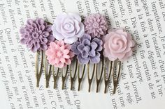 Purple Flower Hair Comb Purple Wedding Hair by BijouxKarmaJewelry