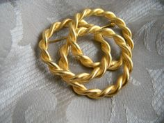 Vintage Big Gold Tone Twisted Pretzel Shaped Brooch or Pin    RosesHeirlooms - Jewelry on ArtFire