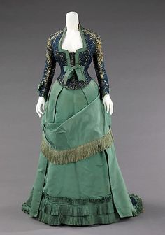 Afternoon dress,Design House: House of Worth (French, 1858–1956) Designer: Charles Frederick Worth (French (born England), Bourne 1825–1895 Paris) Date: ca. 1875 Culture: French Medium: silk