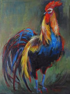 "Rooster,  Original Painting, Acrylic, 18"" x24"" wrap-around canvas. $225.00, via Etsy."