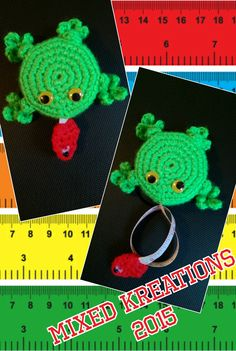 Crochet Frog Tape Measure - who said tape measures had to be dull.