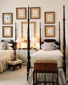 Stunning four post twin beds with beautiful carvings