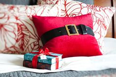 Add instant holiday flair with a Santa pillow!