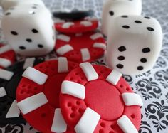 12 Fondant Edible cupcake/cake toppers  Poker Chips & Dice by TopCakeDecors, $20.00