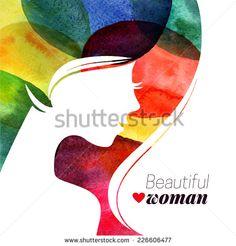 Watercolor beautiful girl. Vector illustration of woman beauty salon - stock vector