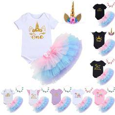 Baby Girls 1st Birthday Unicorn Romper +Tutu Skirt +Headband 3pcs Clothes Outfit #Fashion #3pcsBabyRomperTulleSkirtHeadbandOutfit #EverydayDailyCasualBirthdayCakeSmashParty