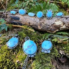 The Blue Skies collection is now live in the shop! Turquoise Pendant, Turquoise Gemstone, Turquoise Bracelet, Golden Hill, Lavender Blue, Oval Pendant, Blue Skies, Blue Gemstones, Rocks And Minerals