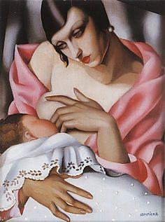 Maternite, 1928 ~ by Tamara de Lempicka (1898-1980) Polish born American Art Deco painter. http://www.reproduction-gallery.com/oil_painting_reproduction_gallery/Tamara-de-Lempicka-Maternite_-1928-large-1058955773.jpg