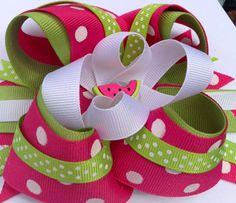 Summer Watermelon Girls hair bow clip headband by CreateAlley, $8.99