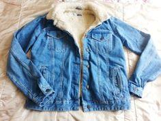 Topshop Vintage Borg MOTO Denim Jacket with Fur Lining Size UK 10 BNWOT | eBay