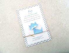 Faire part de naissance - baptême - carte de remerciement chat en origami pour garçon à motif pois - chevron - bleu : Faire-part par papierelief