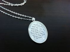 """""""Blood of my blood, Bone of my bone"""" Outlander by Diana Gabaldon book quote pendant necklace, spoken by Jamie Fraser to Claire."""