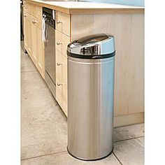 @Overstock.com - iTouchless 13-gallon Steel Touchless Trash Can - Modern technology meets functionality with this automatic touchless trash can by iTouchless. The lid will remain open if your hand is within a six-inch range, and closes after three seconds, which helps to prevent contamination and airborne illness.  http://www.overstock.com/Home-Garden/iTouchless-13-gallon-Steel-Touchless-Trash-Can/2494851/product.html?CID=214117 $69.98