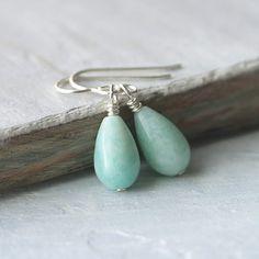 Mint Green Earrings: Amazonite Tear Drops with Sterling Silver, Gemstone Jewelry, Simple Earrings on Etsy, $20.00