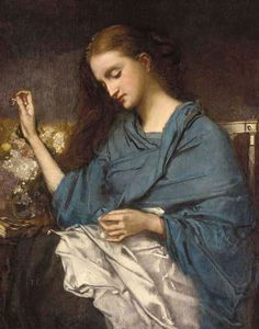 Jeune Femme Cousant by Thomas Couture (Young Woman Sewing), Oil on canvas Thomas Couture, Lawrence Alma Tadema, Art Du Fil, Academic Art, Ecole Art, Sewing Art, Hand Sewing, Oil Painting Reproductions, Portraits