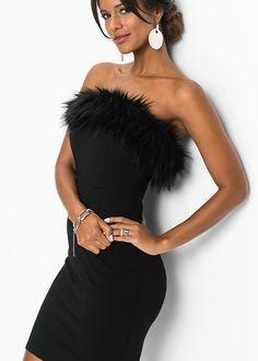 27195d2fa7adef FAUX FUR TRIM DRESS Formal Dress Shops