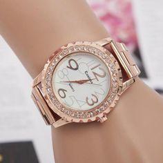 Frauen-dame Golduhr Edelstahl Strass Zifferblatt Quarz Digitale Armbanduhr