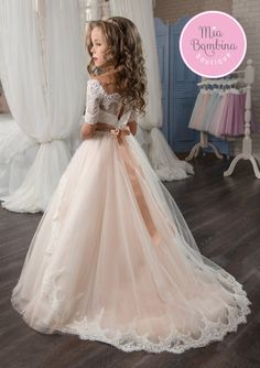Champagne puffy lace flower girl dress custom colors available gorgeous tallahassee flower girl dress makes a stunning impression with its off the shoulder short sleeved corset bodice embellished with intricate lace mightylinksfo