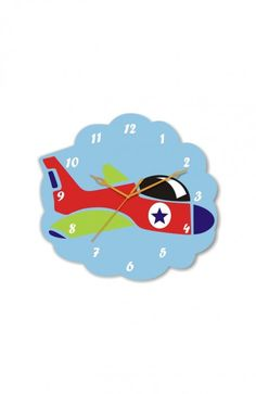 A cute, colorful 'Plane Clock' for your kid's room. Now let them imagine travelling to new locations and pass time! :)    More creative designs and home decor ideas available on www.gloob.in
