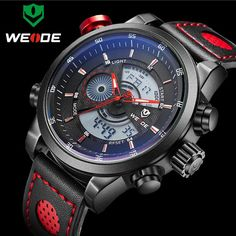 US $52.09 - 2016 NEW WEIDE Luxury Brand Men's Quartz Digital Watches Men Fashion Casual Sports Clock Genuine Leather Military Wristwatches