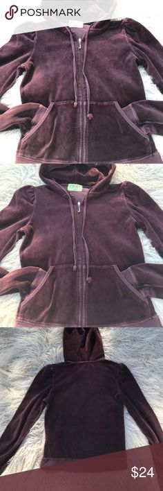 "JUICY COUTURE VELOUR JACKET Juicy Couture velour jacket in Chocolate Brown. Size Large. Fits more like a Medium. Good condition (hardly worn). 80% Cotton 20% Polyester. Made in USA. Jacket Length:  21""             Chest: 16""             Arm length 25"" Juicy Couture Other"