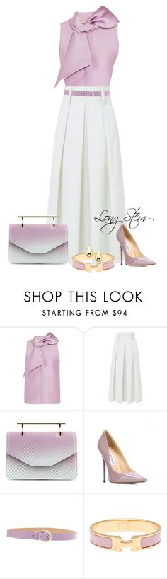 """""""8/18/17"""" by longstem ❤ liked on Polyvore featuring Merchant Archive, TIBI, M2Malletier, Jimmy Choo, Salvatore Ferragamo and Hermès"""