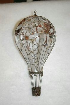 ornamented recycled lightbulb - hot air balloon