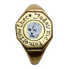 1stdibs | Important Memento Mori Skull Ring  Today Me Tomorrow Thee-circa 16th or 17th century