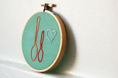 I need to own this.  Big and Little Spoon in Love.  Hand Embroidery in 4 inch Hoop. Orange, Red, Silver on Sage Green. Needlecraft, Embroidery. Wedding Gift, Fav...