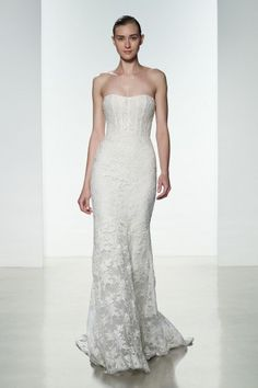 """""""Amber"""" Amsale Spring 2016 - Strapless sheer bodice alencon lace fit to flare."""