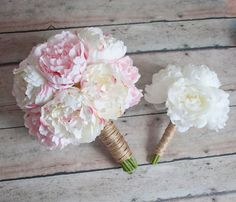 Ivory and Blush Pink Peony Wedding Bouquet Set - Bridal Bouquet and Bridesmaids Bouquets by Kate Said Yes Weddings, www.katesaidyes.etsy.com