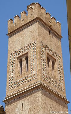 Bell tower of Santa Maria Magdalena church in Zaragoza - Aragon, Spain