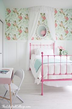 Little girl room decor ideas. Floral pink and aqua room decor featuring Anthropologie peony wallpaper, vintage iron bed and gold accents. Big Girl Bedrooms, Little Girl Rooms, Girls Bedroom Canopy, Woman Bedroom, Master Bedroom, Anthropologie Wallpaper, Kid Spaces, My New Room, Bedroom Decor
