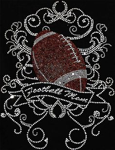 Football Mom with Swirls Rhinestone Hot Fix Iron On Transfer on Etsy, $14.00