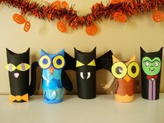 Halloween creatures made from toilet paper rolls